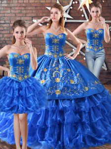 Delicate Floor Length Blue Quinceanera Dresses Sweetheart Sleeveless Lace Up