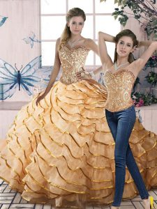 Flare Gold Sleeveless Organza Brush Train Lace Up 15 Quinceanera Dress for Sweet 16 and Quinceanera