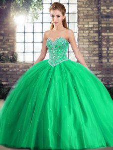 Fitting Green Tulle Lace Up Quinceanera Gowns Sleeveless Brush Train Beading