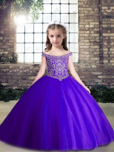 Great Purple Sleeveless Beading Floor Length Kids Pageant Dress