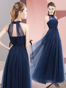 Navy Blue Empire Tulle Halter Top Sleeveless Beading and Appliques Floor Length Lace Up Dama Dress