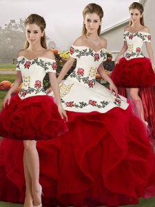Floor Length Lace Up Quinceanera Dresses White And Red for Military Ball and Sweet 16 and Quinceanera with Embroidery and Ruffles