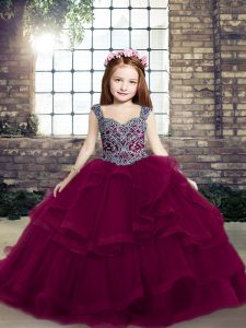 Floor Length Ball Gowns Sleeveless Fuchsia Kids Pageant Dress Lace Up