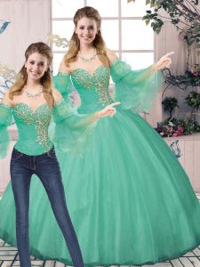 Customized Turquoise Lace Up Quinceanera Dresses Beading Sleeveless Floor Length