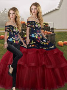 Beautiful Wine Red Off The Shoulder Neckline Embroidery and Ruffled Layers Quinceanera Dress Sleeveless Lace Up
