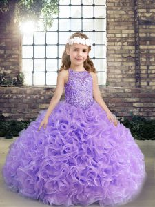 Sleeveless Floor Length Beading and Ruching Lace Up Kids Formal Wear with Lavender