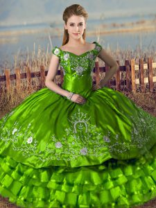 Affordable Green Lace Up Ball Gown Prom Dress Embroidery and Ruffled Layers Sleeveless Floor Length