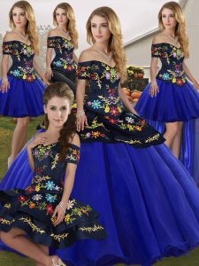 Smart Floor Length Lace Up Quince Ball Gowns Royal Blue for Military Ball and Sweet 16 and Quinceanera with Embroidery