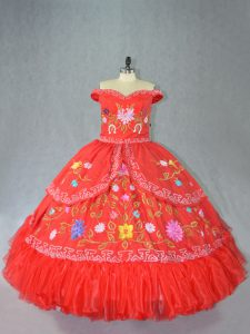 Amazing Off The Shoulder Sleeveless 15 Quinceanera Dress Floor Length Embroidery Red Satin