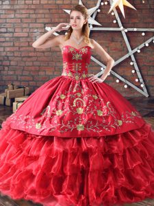 Best Organza Quinceanera Gown Embroidery and Ruffled Layers