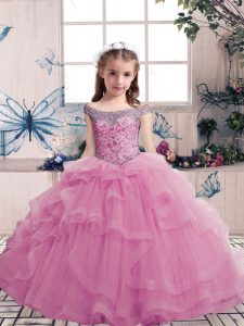 Lilac Lace Up Scoop Beading Girls Pageant Dresses Tulle Sleeveless