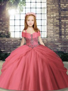 Watermelon Red Lace Up Straps Beading Kids Pageant Dress Tulle Sleeveless