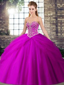 Fuchsia Sleeveless Beading and Pick Ups Lace Up Ball Gown Prom Dress