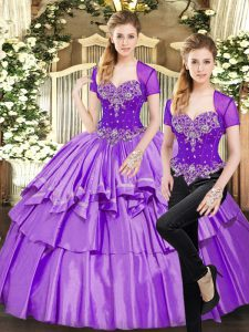Stunning Lavender Sweetheart Neckline Beading and Ruffled Layers Ball Gown Prom Dress Sleeveless Lace Up