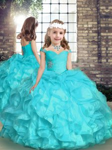 Top Selling Organza Straps Sleeveless Lace Up Beading and Ruffles Little Girls Pageant Dress in Aqua Blue
