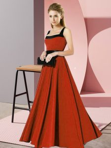 Rust Red Chiffon Zipper Square Sleeveless Floor Length Quinceanera Court Dresses Belt
