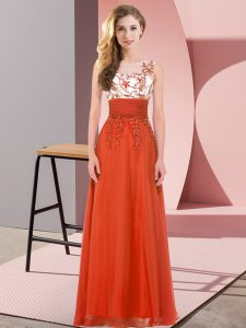 Fancy Scoop Sleeveless Damas Dress Floor Length Appliques Rust Red Chiffon