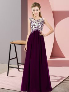 Scoop Sleeveless Damas Dress Floor Length Beading and Appliques Dark Purple Chiffon