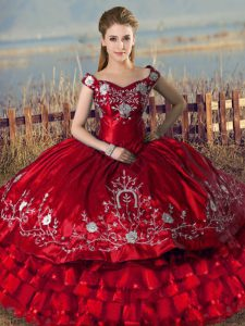 Red Lace Up Vestidos de Quinceanera Embroidery and Ruffled Layers Sleeveless Floor Length