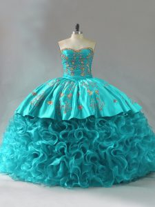 Colorful Sleeveless Embroidery and Ruffles Lace Up Quinceanera Dresses with Aqua Blue Brush Train