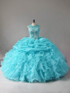 Scoop Sleeveless Quince Ball Gowns Floor Length Appliques and Ruffles and Pick Ups Aqua Blue Organza