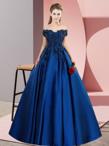 Comfortable Off The Shoulder Sleeveless 15 Quinceanera Dress Floor Length Lace Blue Satin