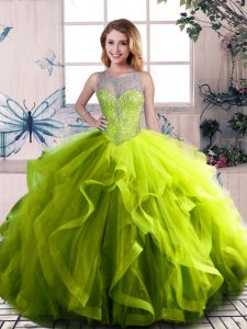 Olive Green 15 Quinceanera Dress Sweet 16 and Quinceanera with Beading and Ruffles Scoop Sleeveless Lace Up