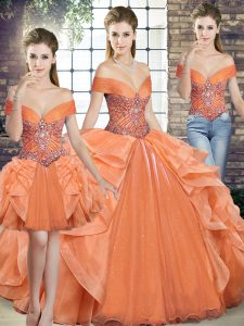 Orange Three Pieces Beading and Ruffles Sweet 16 Dresses Lace Up Organza Sleeveless Floor Length