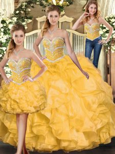 Gold Organza Lace Up 15th Birthday Dress Sleeveless Floor Length Beading and Ruffles