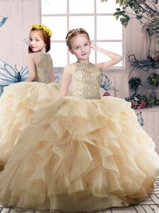Affordable Sleeveless Zipper Floor Length Beading and Ruffles Pageant Dress Wholesale