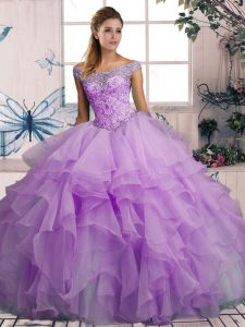 High Class Off The Shoulder Sleeveless Lace Up Quinceanera Dresses Lavender Organza