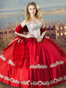 Discount Red Satin Lace Up Sweetheart Sleeveless Floor Length Quince Ball Gowns Beading and Embroidery