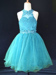 Aqua Blue A-line Organza Halter Top Sleeveless Beading and Lace Mini Length Lace Up Flower Girl Dresses for Less