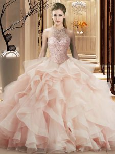 Hot Sale Beading and Ruffles 15 Quinceanera Dress Pink Lace Up Sleeveless Brush Train