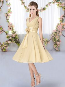 Glittering Hand Made Flower Quinceanera Court of Honor Dress Champagne Lace Up Sleeveless Knee Length