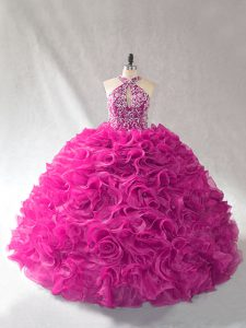 Custom Made Halter Top Sleeveless Sweet 16 Dress Brush Train Beading and Ruffles Fuchsia Organza