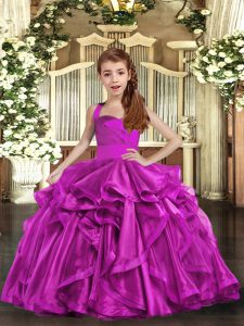 Fuchsia Sleeveless Ruffles Floor Length Little Girls Pageant Gowns
