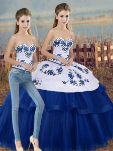 Most Popular Royal Blue Tulle Lace Up Sweetheart Sleeveless Floor Length Quinceanera Gowns Embroidery and Bowknot