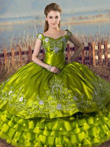 Olive Green Quinceanera Dresses Sweet 16 and Quinceanera with Embroidery and Ruffled Layers Off The Shoulder Sleeveless Lace Up