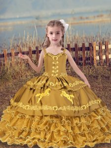 Modern Gold Organza Lace Up Straps Sleeveless Floor Length Pageant Gowns For Girls Beading and Embroidery and Ruffled Layers