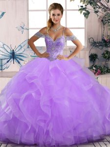 Gorgeous Sleeveless Tulle Floor Length Lace Up 15th Birthday Dress in Lavender with Beading and Ruffles
