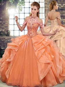 Modest Organza Sleeveless Floor Length Quinceanera Dress and Beading and Ruffles