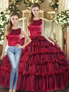Flirting Organza Scoop Sleeveless Lace Up Ruffled Layers Quinceanera Gowns in Wine Red