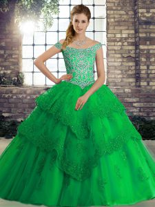 Trendy Sleeveless Beading and Lace Lace Up 15th Birthday Dress with Green Brush Train