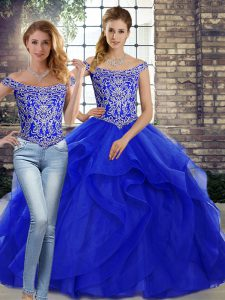 Royal Blue Sleeveless Brush Train Beading and Ruffles Quinceanera Dresses