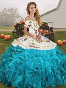 Sleeveless Embroidery and Ruffles Lace Up Quinceanera Dresses