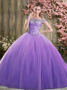 Luxury Beading Sweet 16 Quinceanera Dress Lavender Lace Up Sleeveless Floor Length