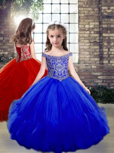 Most Popular Off The Shoulder Sleeveless Little Girl Pageant Gowns Floor Length Beading Royal Blue Tulle