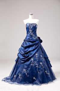 Floor Length Blue Quinceanera Gowns Sleeveless Embroidery and Hand Made Flower