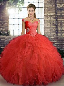 Orange Red Ball Gowns Tulle Off The Shoulder Sleeveless Beading and Ruffles Floor Length Lace Up Quince Ball Gowns